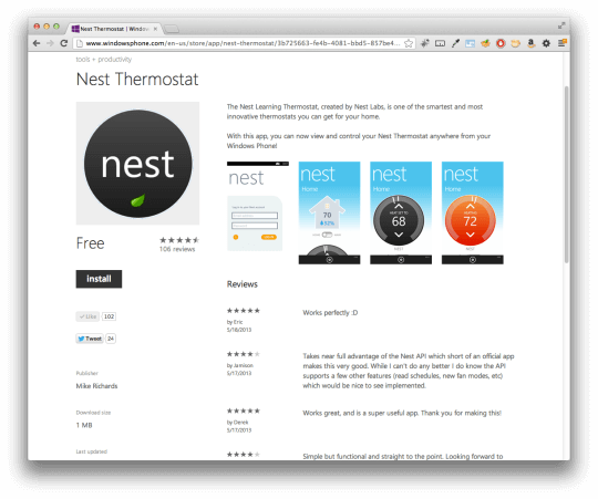 Nest Thermostat - Windows Phone 8
